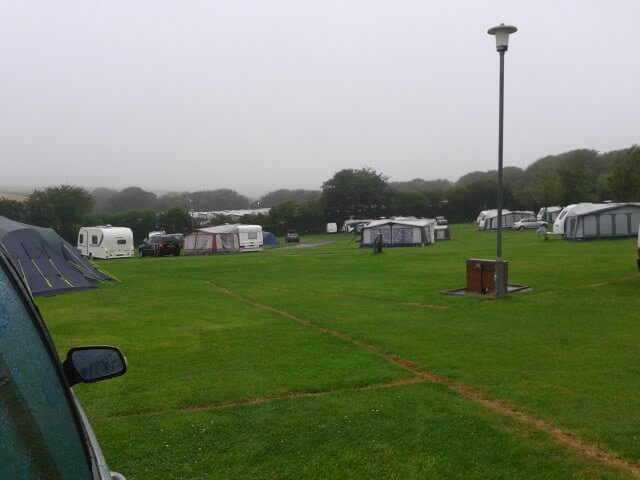 I'm not sure this photo does it justice, but it was very very wet when we packed up and left our last campsite
