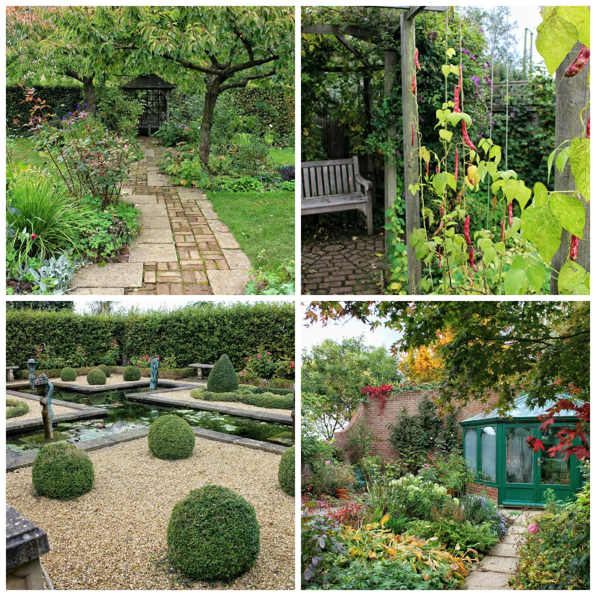 (Clockwise from top left) the Rose Garden, my personal favourite the Ornamental Kitchen Garden, the Formal Pool & Knot Garden and Town Paradise Garden