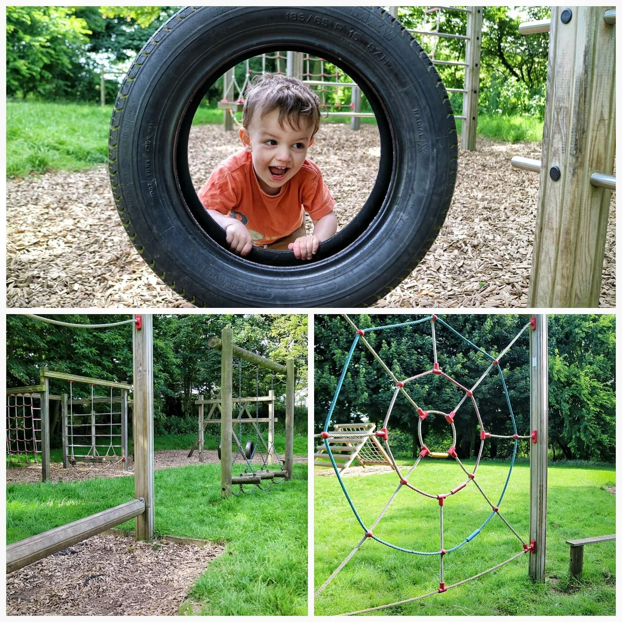A toddler enjoying a play area