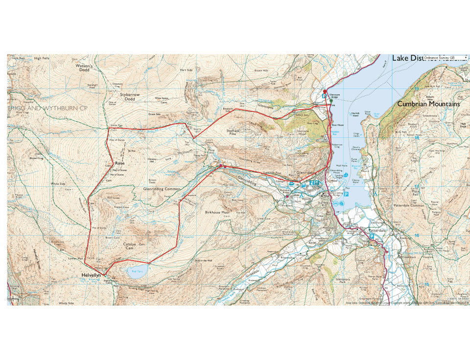a map of our 10 mile route including Helvellyn in the Lake Distrtct
